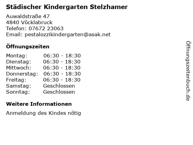 Städischer Kindergarten Stelzhamer in Vöcklabruck: Adresse und Öffnungszeiten