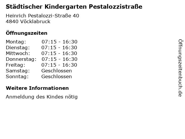 Städtischer Kindergarten Pestalozzistraße in Vöcklabruck: Adresse und Öffnungszeiten