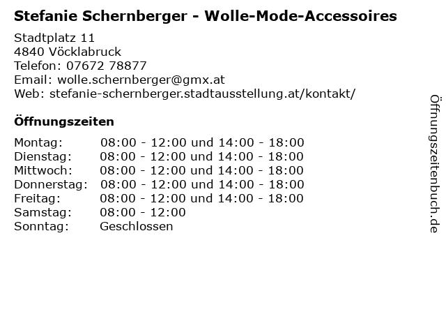 Stefanie Schernberger - Wolle-Mode-Accessoires in Vöcklabruck: Adresse und Öffnungszeiten