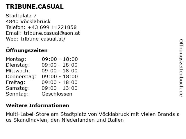 TRIBUNE.CASUAL in Vöcklabruck: Adresse und Öffnungszeiten