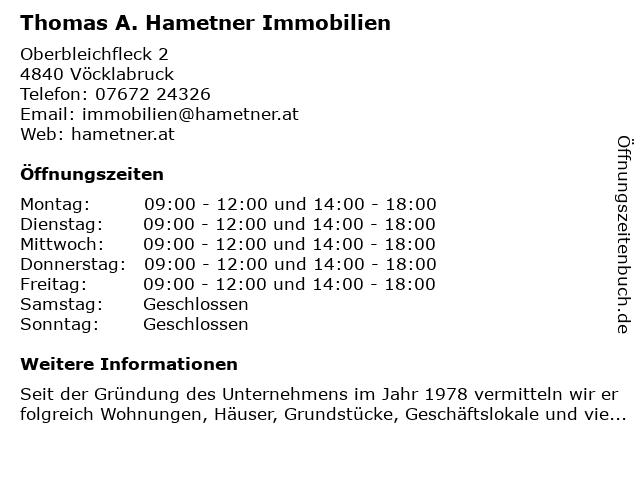 Thomas A. Hametner Immobilien in Vöcklabruck: Adresse und Öffnungszeiten