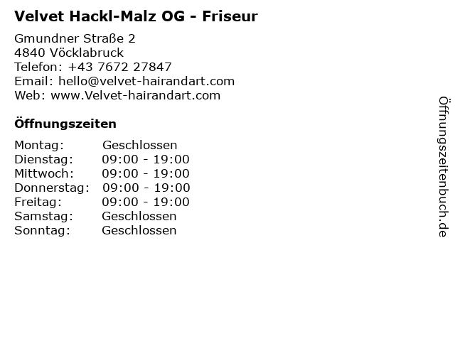 Velvet Hackl-Malz OG - Friseur in Vöcklabruck: Adresse und Öffnungszeiten