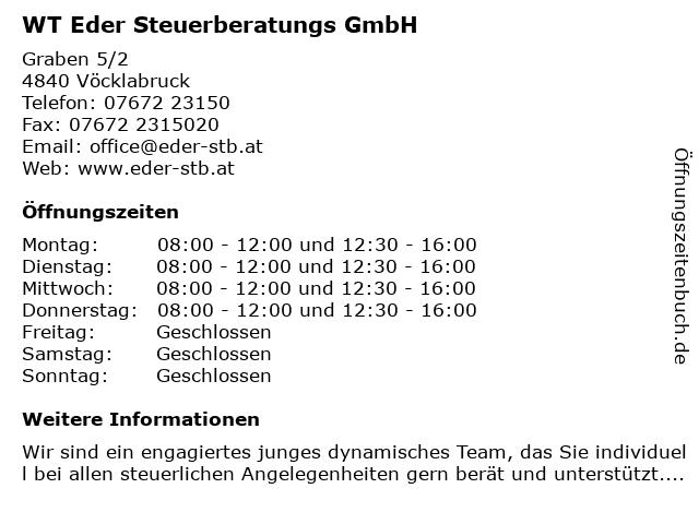 WT Eder Steuerberatungs GmbH in Vöcklabruck: Adresse und Öffnungszeiten