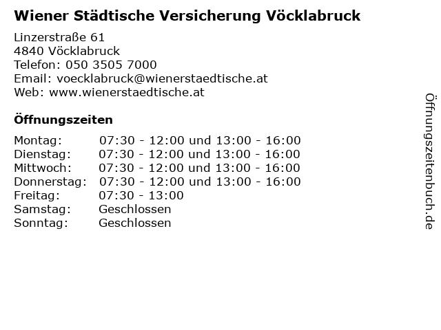Wiener Städtische Versicherung Vöcklabruck in Vöcklabruck: Adresse und Öffnungszeiten