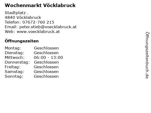 Wochenmarkt Vöcklabruck in Vöcklabruck: Adresse und Öffnungszeiten