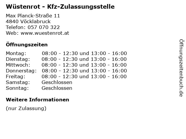 Wüstenrot - Kfz-Zulassungsstelle in Vöcklabruck: Adresse und Öffnungszeiten