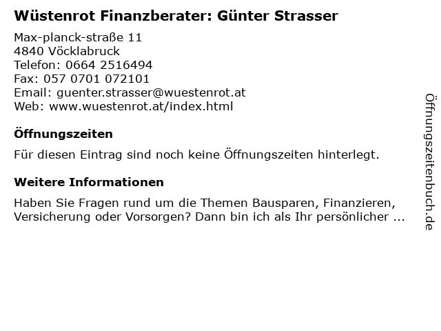 Wüstenrot Finanzberater: Günter Strasser in Vöcklabruck: Adresse und Öffnungszeiten