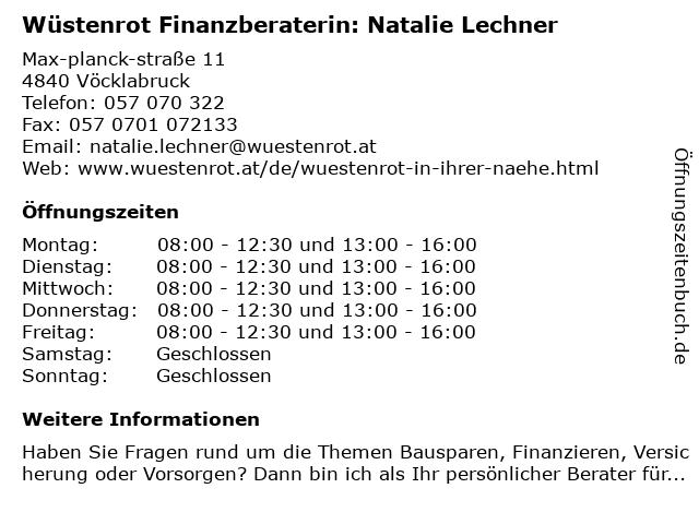 Wüstenrot Finanzberaterin: Natalie Lechner in Vöcklabruck: Adresse und Öffnungszeiten