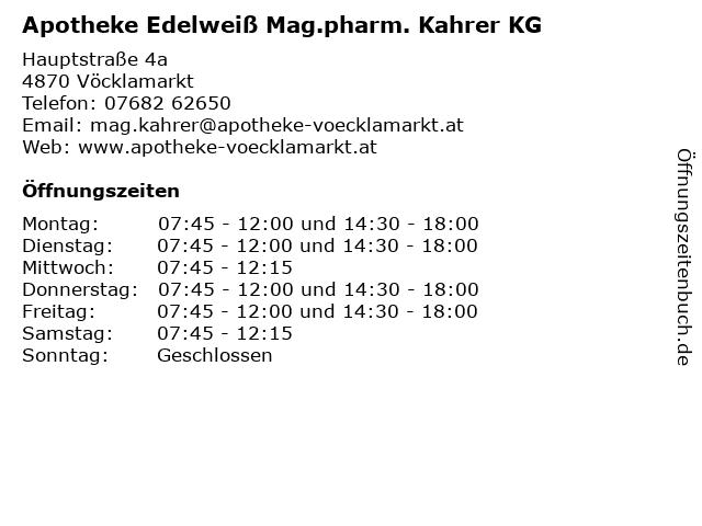 Apotheke Edelweiß Mag.pharm. Kahrer KG in Vöcklamarkt: Adresse und Öffnungszeiten