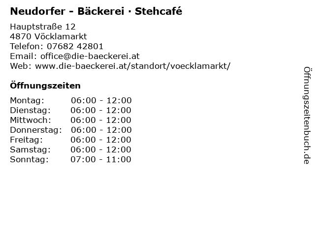 Bäckerei Neudorfer Ludwig, Filiale in Vöcklamarkt: Adresse und Öffnungszeiten