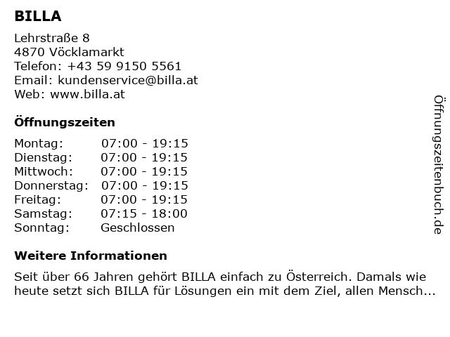 Billa AG in Voecklamarkt: Adresse und Öffnungszeiten