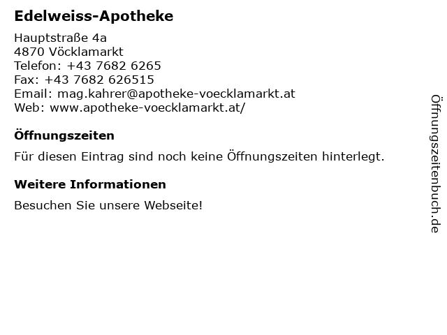 Edelweiss-Apotheke in Vöcklamarkt: Adresse und Öffnungszeiten