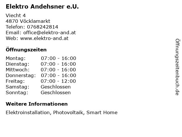 Elektro Andehsner e.U. in Vöcklamarkt: Adresse und Öffnungszeiten