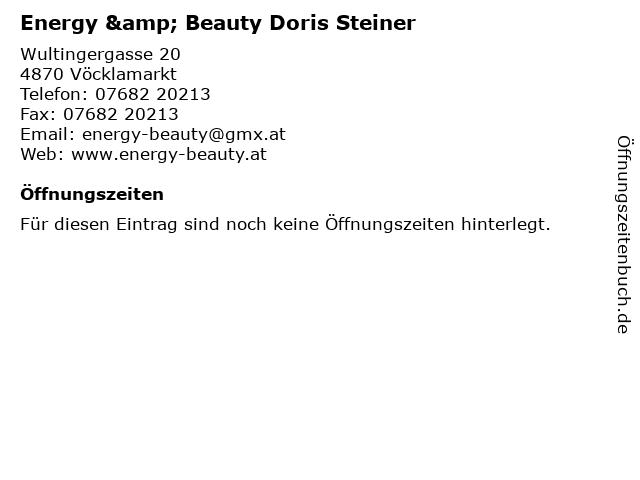 Energy & Beauty Doris Steiner in Vöcklamarkt: Adresse und Öffnungszeiten