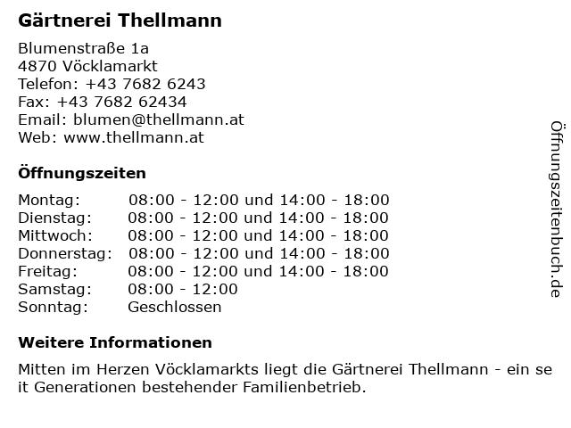 Gärtnerei Thellmann in Vöcklamarkt: Adresse und Öffnungszeiten