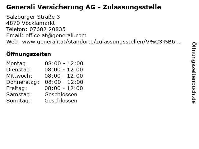 Generali Versicherung AG - Zulassungsstelle in Vöcklamarkt: Adresse und Öffnungszeiten