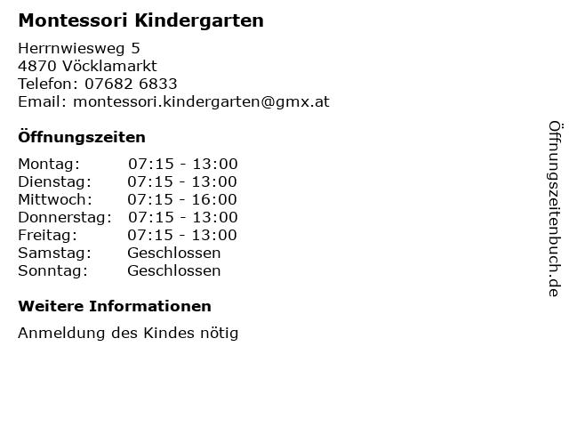 Montessori Kindergarten in Vöcklamarkt: Adresse und Öffnungszeiten
