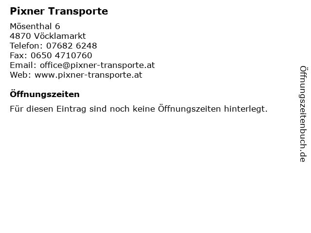 Pixner Transporte in Vöcklamarkt: Adresse und Öffnungszeiten