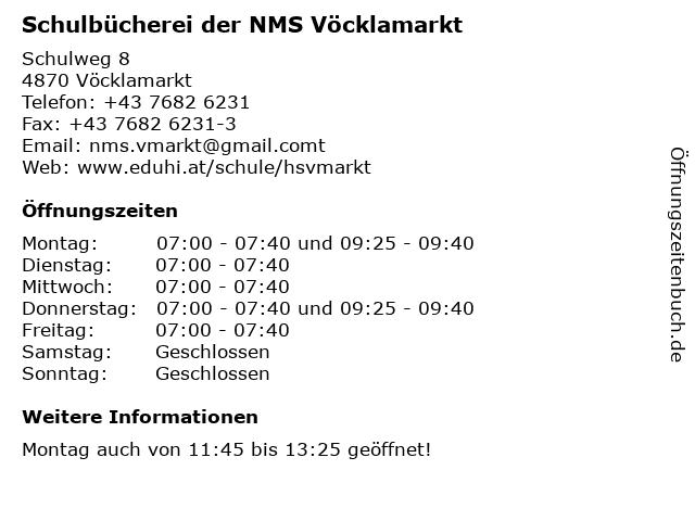 Schulbücherei der NMS Vöcklamarkt in Vöcklamarkt: Adresse und Öffnungszeiten