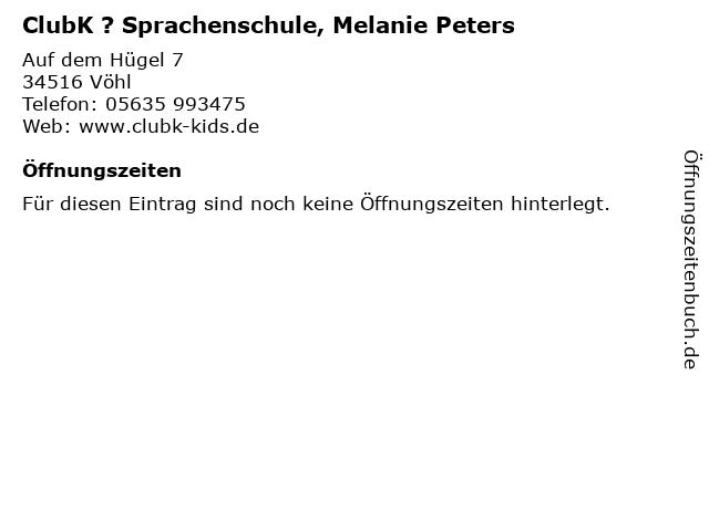ClubK ? Sprachenschule, Melanie Peters in Vöhl: Adresse und Öffnungszeiten