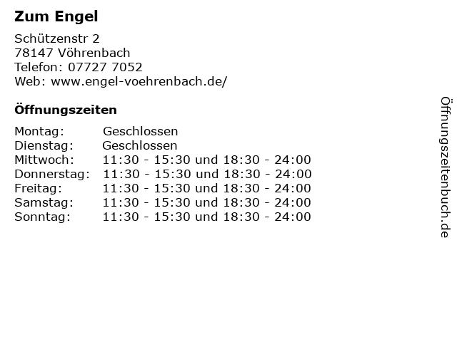 Zum Engel in Vöhrenbach: Adresse und Öffnungszeiten