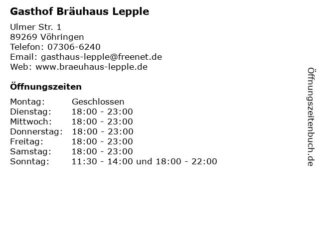 Gasthof Bräuhaus Lepple in Vöhringen: Adresse und Öffnungszeiten