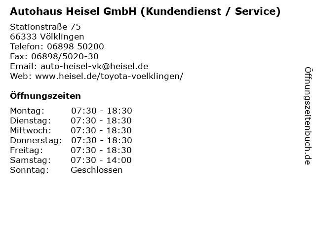 ᐅ öffnungszeiten Autohaus Heisel Gmbh Service Stationstrasse