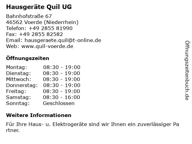 Hausgeräte Quil UG in Voerde (Niederrhein): Adresse und Öffnungszeiten