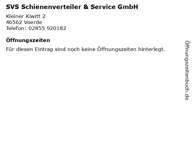 SVS Schienenverteiler & Service GmbH in Voerde: Adresse und Öffnungszeiten