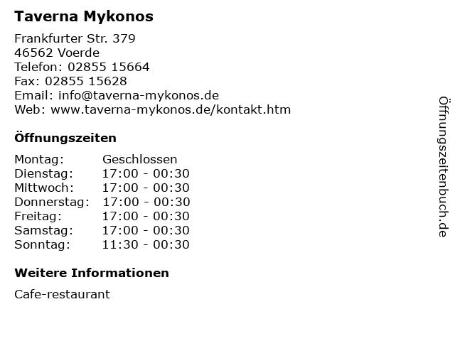 Taverna Mykonos in Voerde: Adresse und Öffnungszeiten
