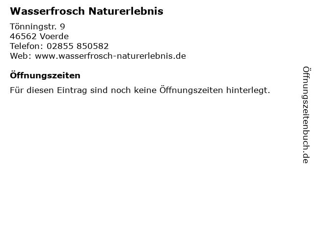 Wasserfrosch Naturerlebnis in Voerde: Adresse und Öffnungszeiten