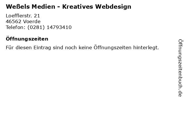 Weßels Medien - Kreatives Webdesign in Voerde: Adresse und Öffnungszeiten