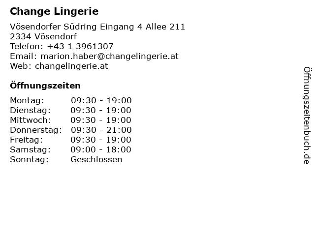 Change Lingerie in Vösendorf: Adresse und Öffnungszeiten