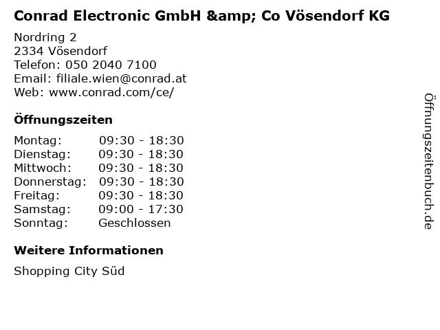 ᐅ öffnungszeiten Conrad Electronic Gmbh Co Vösendorf Kg