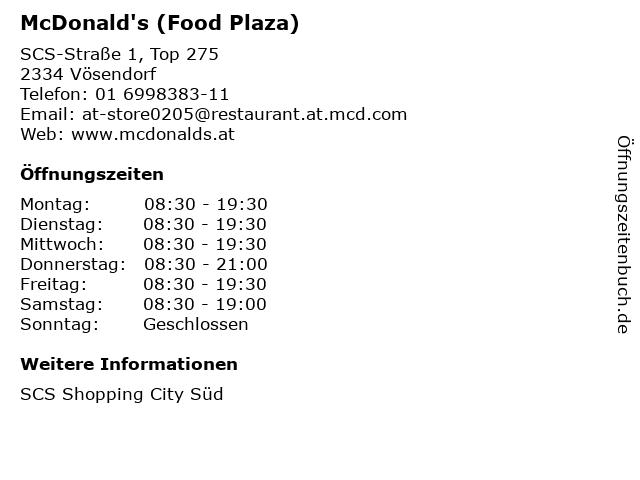 McDonald's (Food Plaza) in Vösendorf: Adresse und Öffnungszeiten