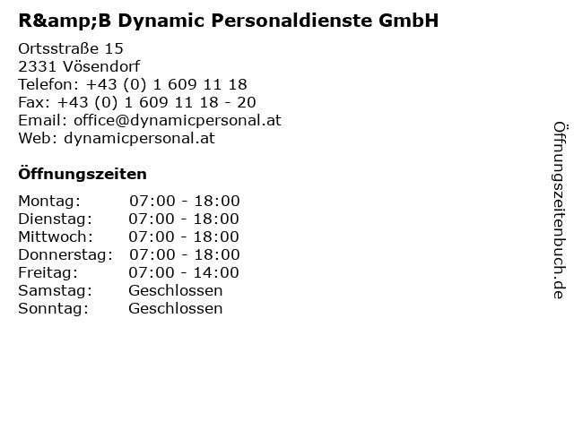 R&B Dynamic Personaldienste GmbH in Vösendorf: Adresse und Öffnungszeiten
