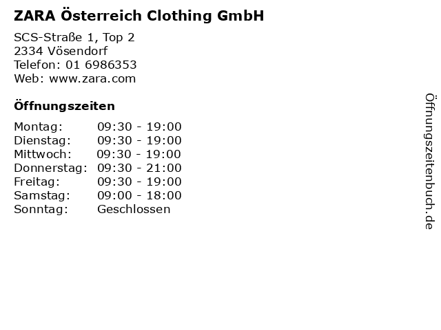 ZARA Österreich Clothing GmbH in Vösendorf: Adresse und Öffnungszeiten
