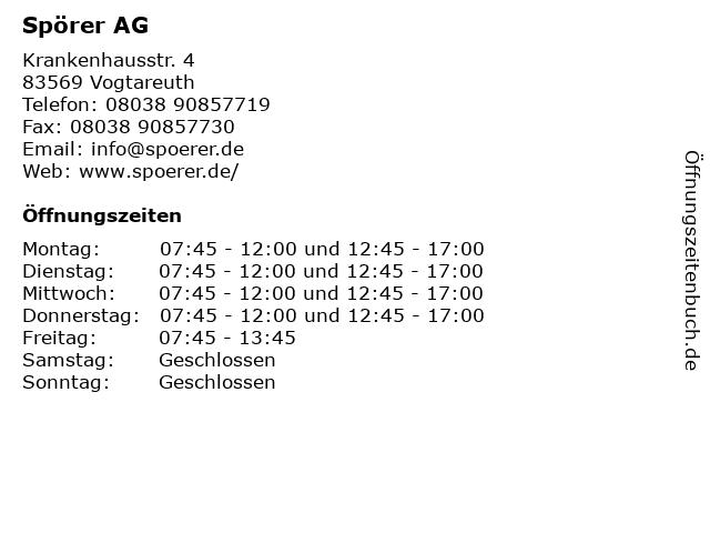 Spörer AG in Vogtareuth: Adresse und Öffnungszeiten