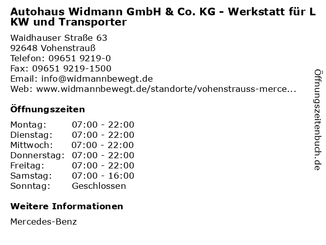 Autohaus Widmann GmbH & Co. KG - Werkstatt für LKW und Transporter in Vohenstrauß: Adresse und Öffnungszeiten