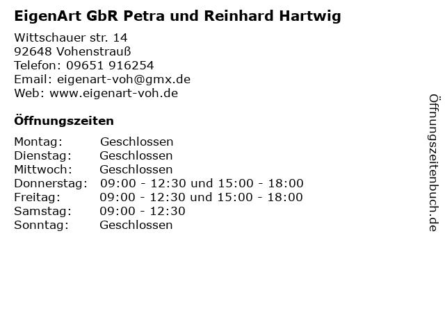 EigenArt Petra Hartwig in Vohenstrauß: Adresse und Öffnungszeiten