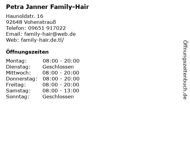 Petra Janner Family-Hair in Vohenstrauß: Adresse und Öffnungszeiten