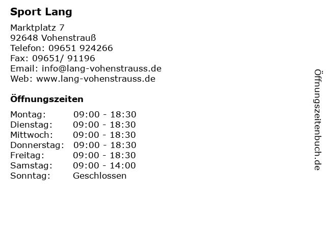 Sport Lang in Vohenstrauß: Adresse und Öffnungszeiten