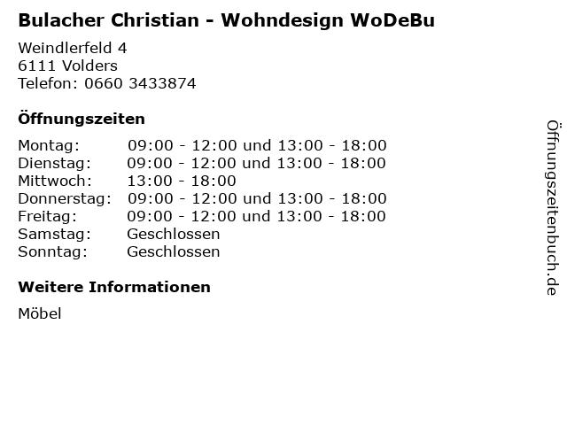 ᐅ Offnungszeiten Bulacher Christian Wohndesign Wodebu