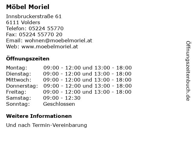 ᐅ Offnungszeiten Mobel Moriel Innsbruckerstrasse 61 In Volders