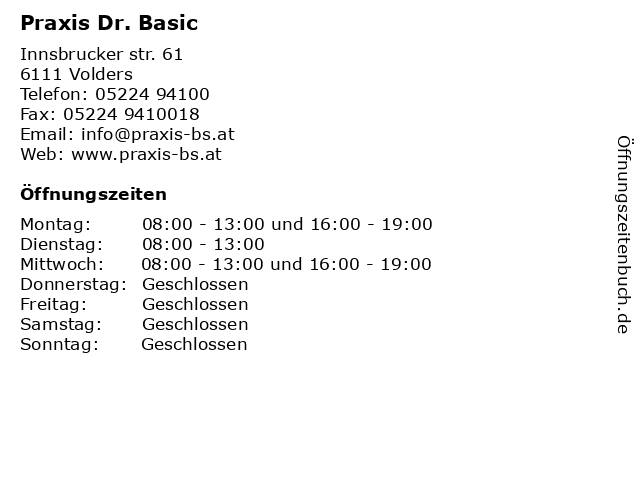 Praxis Dr. Basic in Volders: Adresse und Öffnungszeiten