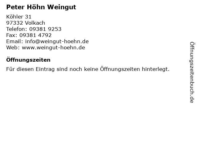 Peter Höhn Weingut in Volkach: Adresse und Öffnungszeiten