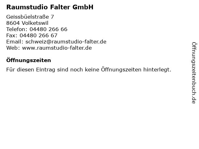 Raumstudio Falter GmbH in Volketswil: Adresse und Öffnungszeiten
