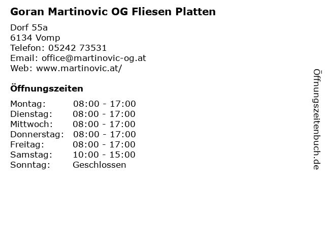 Goran Martinovic OG Fliesen Platten in Vomp: Adresse und Öffnungszeiten