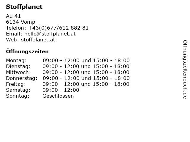 Stoffplanet in Vomp: Adresse und Öffnungszeiten