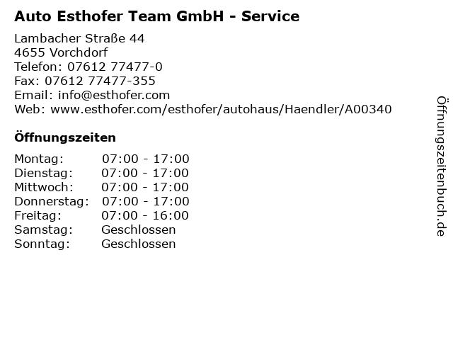 Auto Esthofer Team GmbH - Service in Vorchdorf: Adresse und Öffnungszeiten